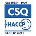 Logo de la certification CSQ-HACCP, assure que Bianchi Industry à un système d'auto-contrôle