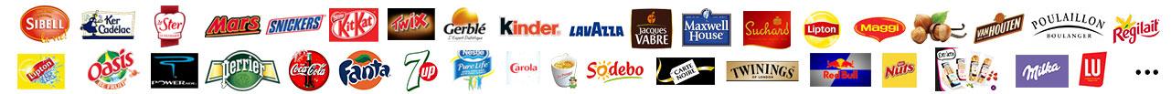 Bandeau des logos (complet) des produits présent dans nos distributeurs automatiques