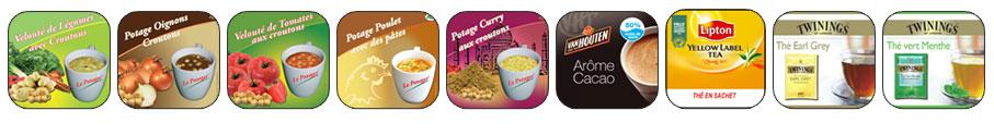 bandeau représentant les différentes soupes, tisanes et thé proposés dans les distributeurs