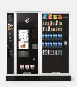 Trois distributeurs automatiques différent mis de côte à côte, c'est un combiné qui accueil nos produits.